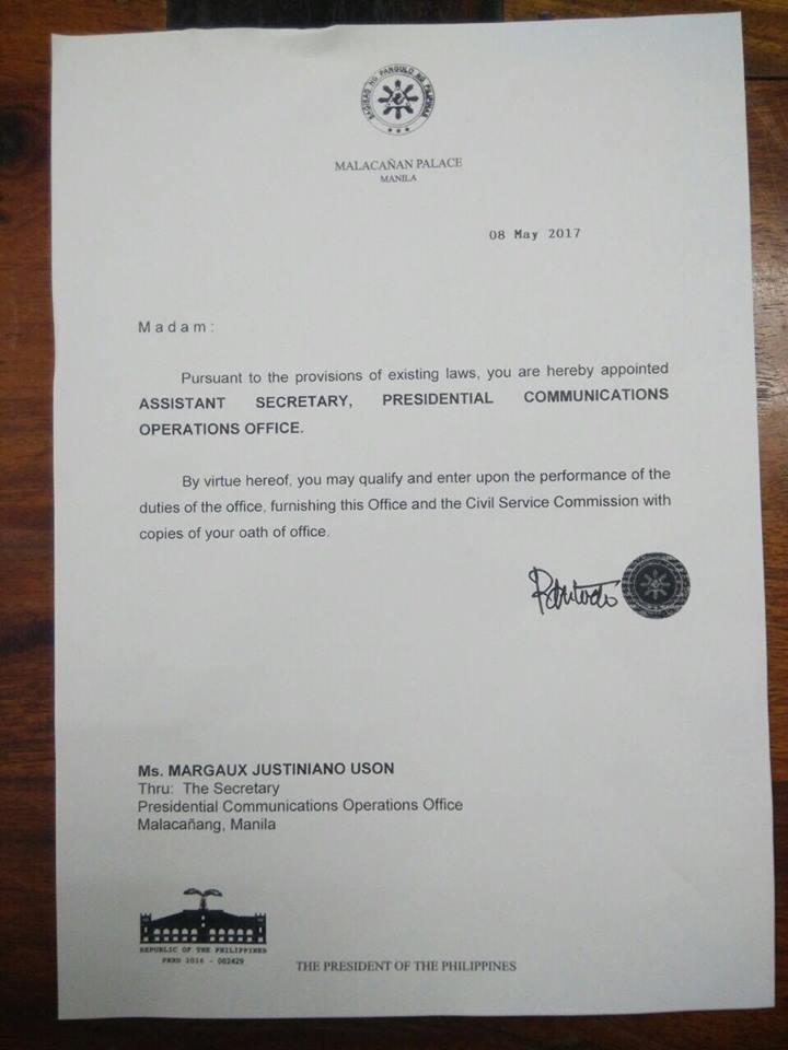 PCOO Assistant Secretary MOCHA USON
