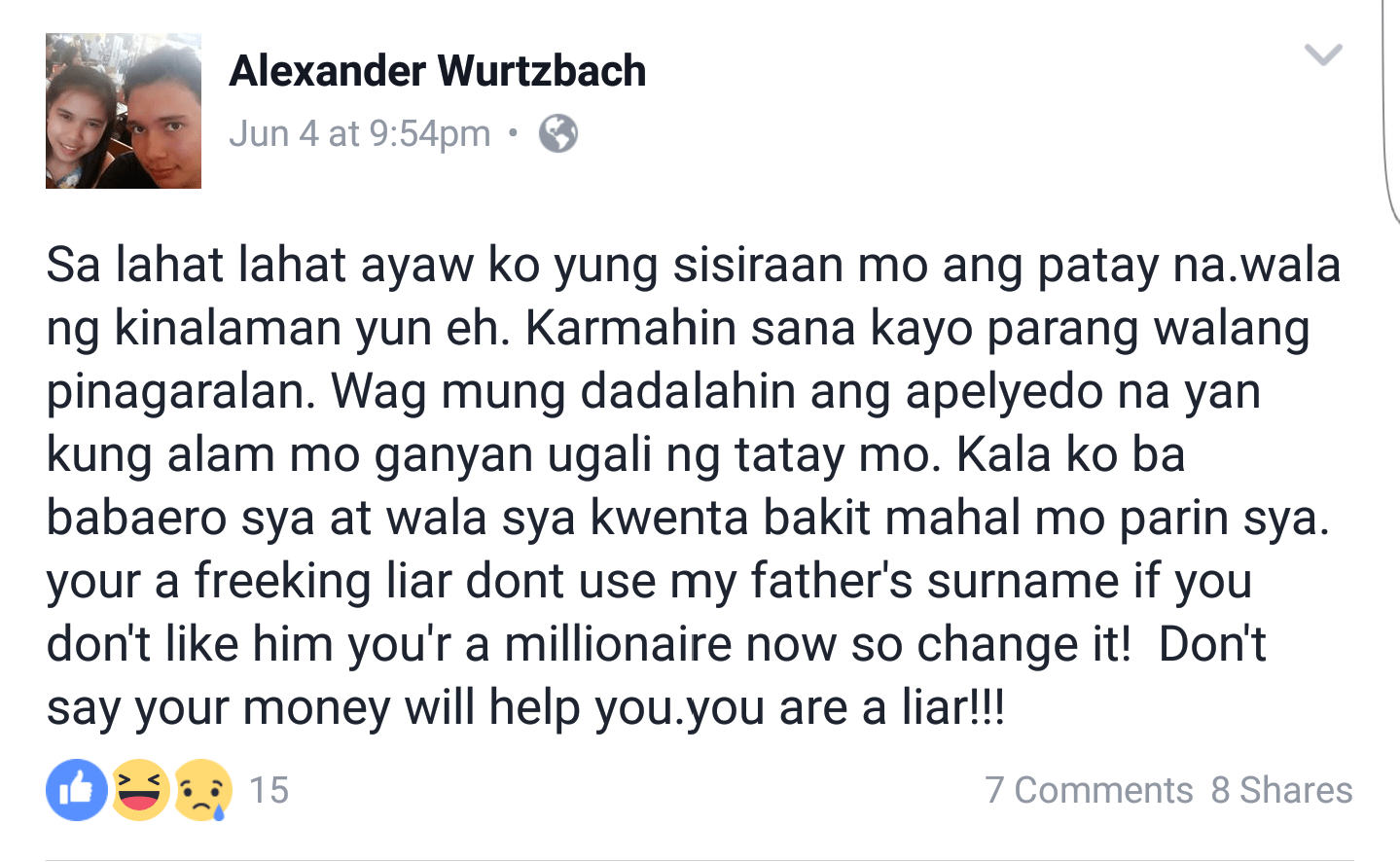 Pia Wurtzbach's step-mother and half-brother