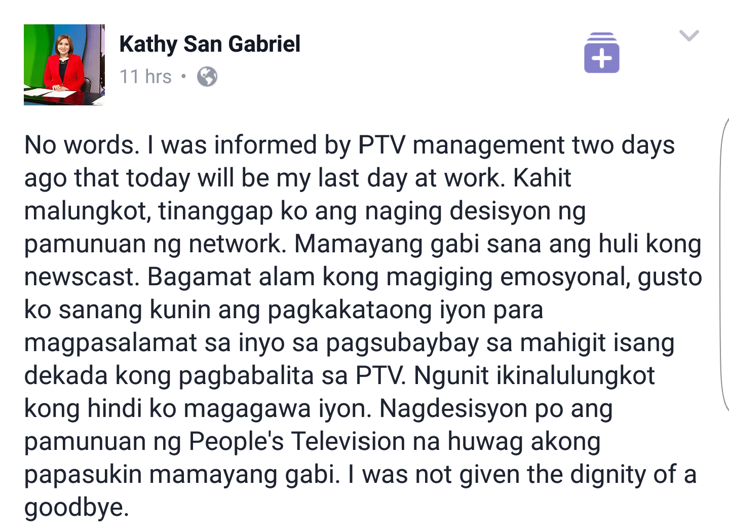 PTV4 Newscaster Kathy San Gabriel Terminated Without Due Notice3