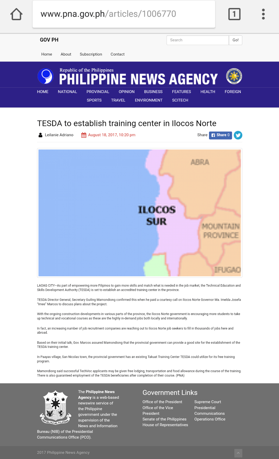 PNA Uses Wrong Map for Article on Ilocos Norte