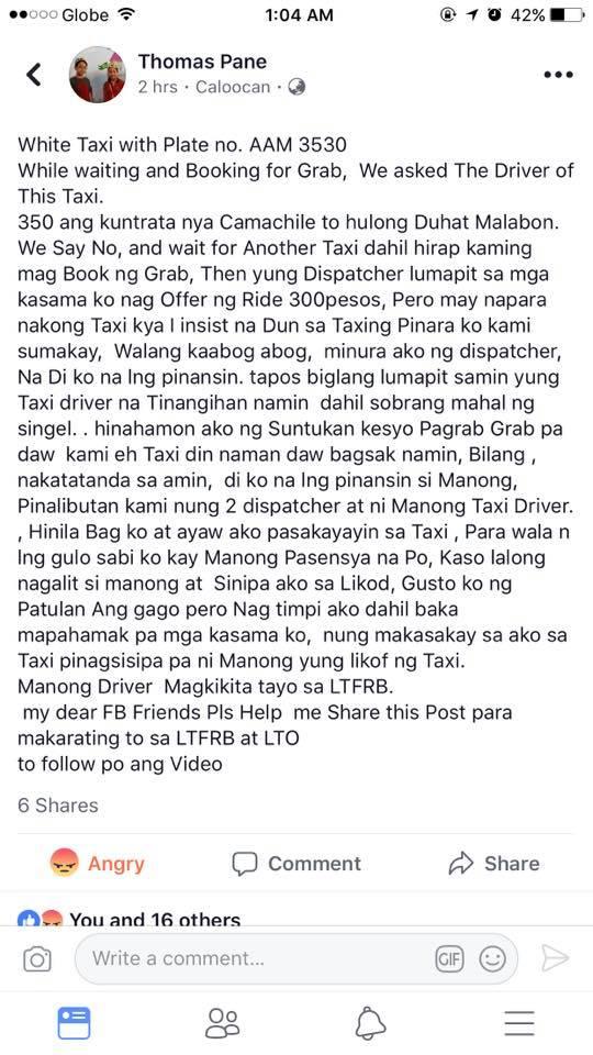 taxi driver nanakit ng pasahero