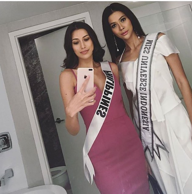 rachel peters with miss indonesia