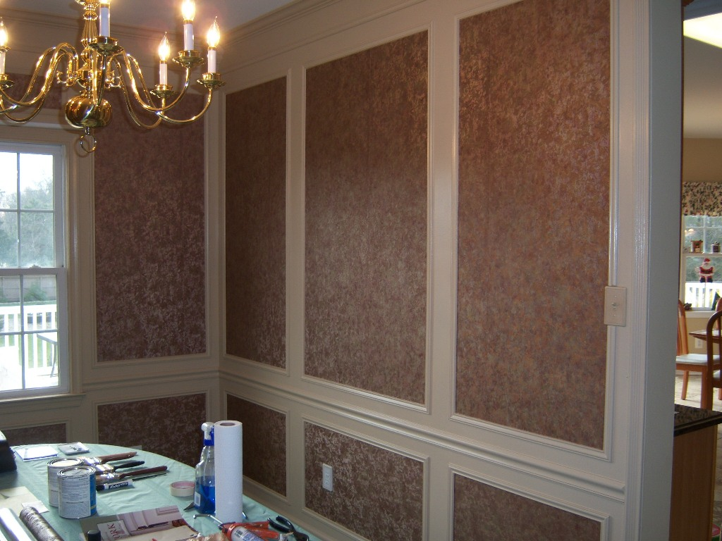 Dining Room Design Accents: Wallpaper Within Shadow Boxes