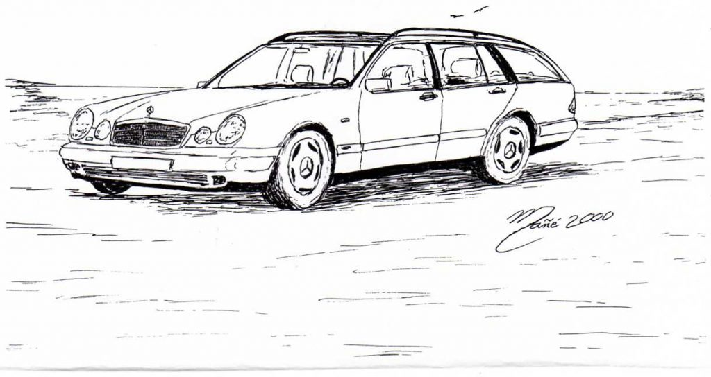 Mercedes-Benz E class Wagon. Made in 1999. Ink pen drawing