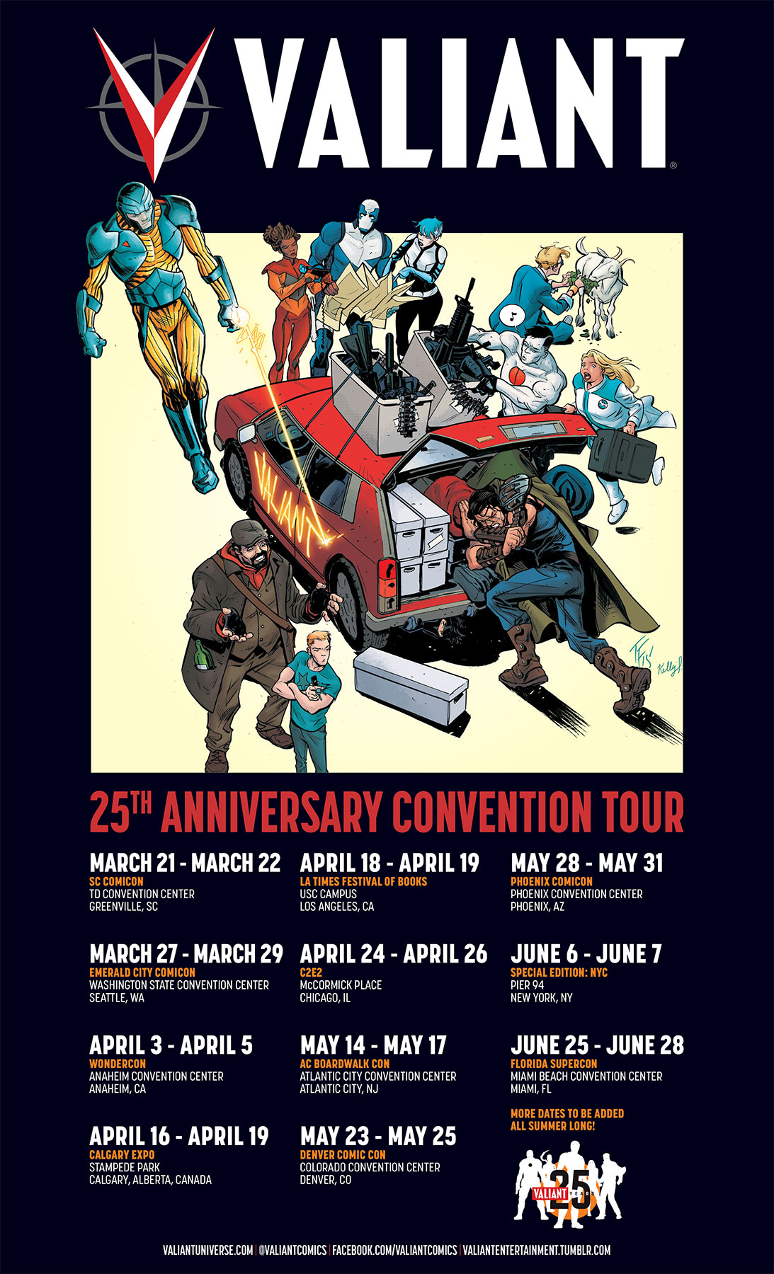 VALIANT 25th ANNIVERSARY CONVENTION TOUR POSTER – Artwork by Tom Fowler