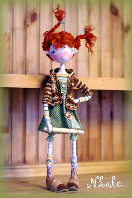 текстильная рыжая кукла