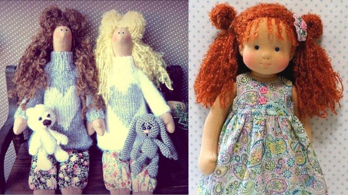 """Куклы с прическами из пряжи """"Букле"""""""