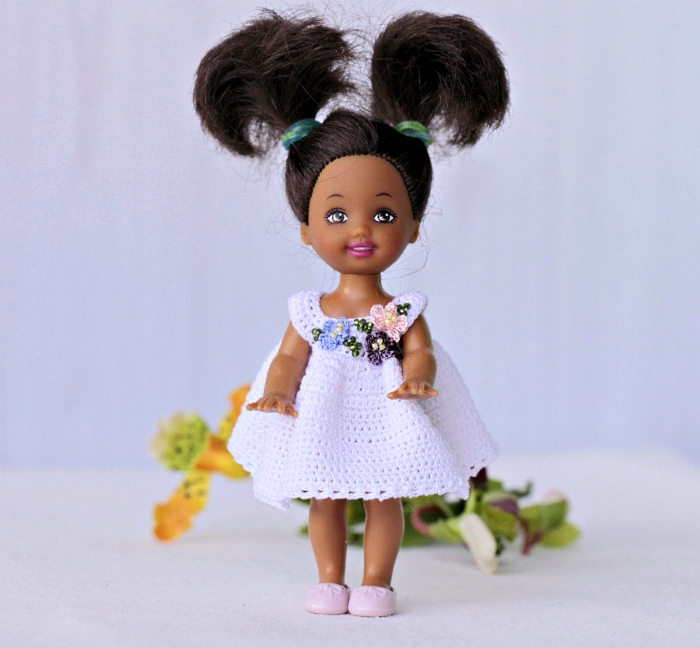 Kelly doll crocheted white dress