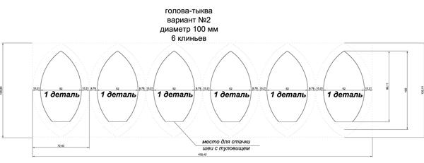 Выкройка тыквоголовки из 6 деталей