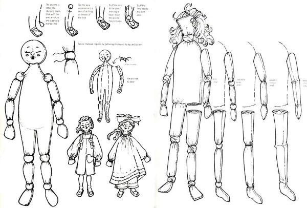 Шарнирная кукла с креплением суставов через бусину