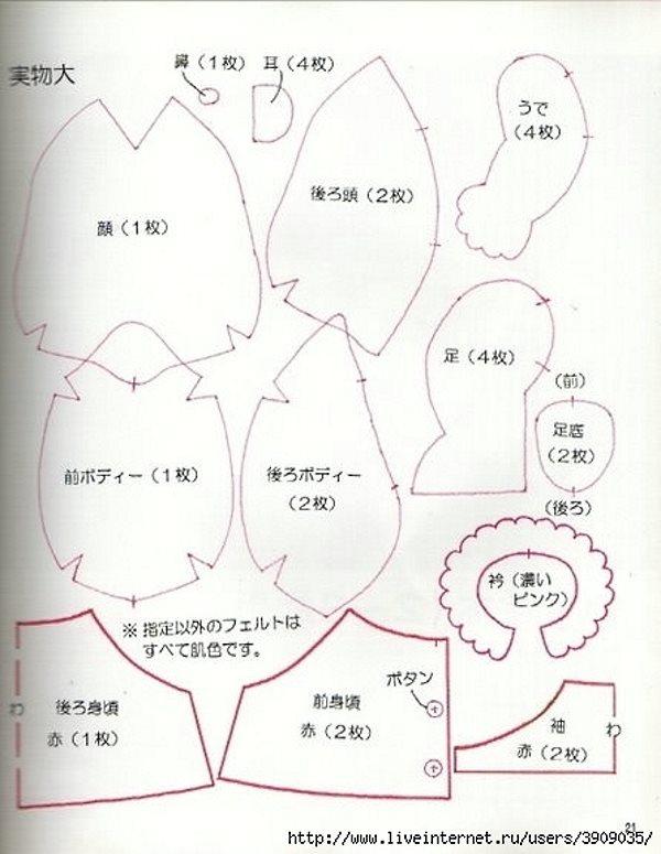 выкройка японской куклы