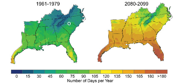 Historical and predicted days with peak temperatures above 90 degrees Fahrenheit