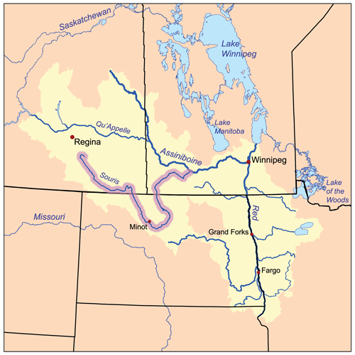 Map of the Souris River and related watersheds, from Wikipedia
