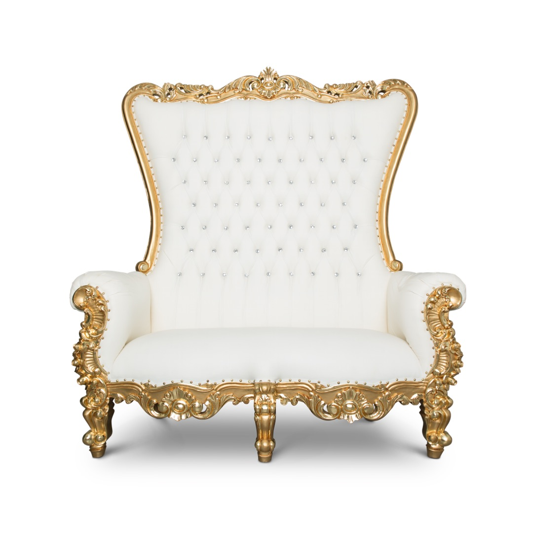 King And Queen Throne Chairs For Rent Throne Love Seat Gold