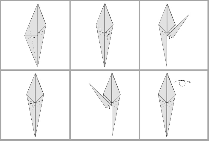 Складывание жураавля оригами: этапы 31-36