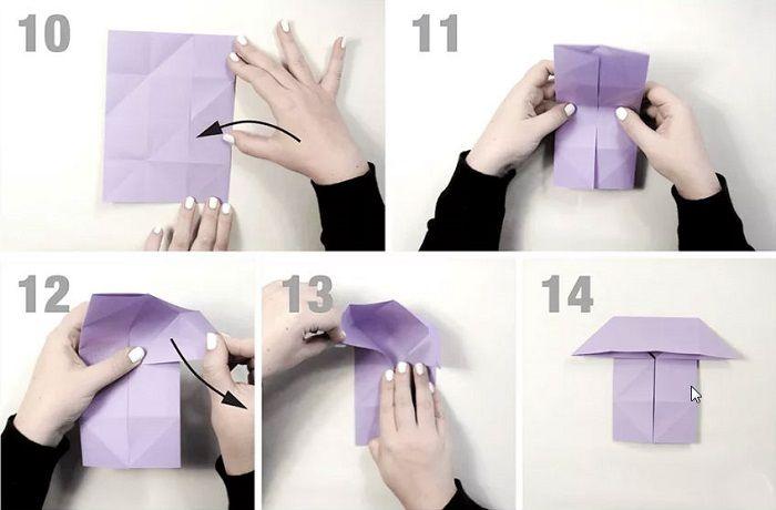 Бумажная бабочка: этапы складывания 10-14