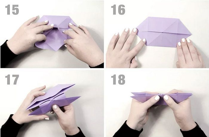 Бумажная бабочка: этапы складывания 15-18