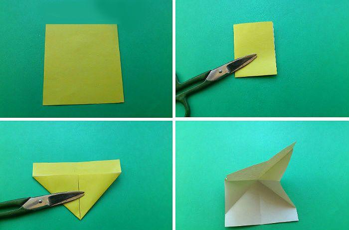 Бабочка-закладка: шаги 1-4