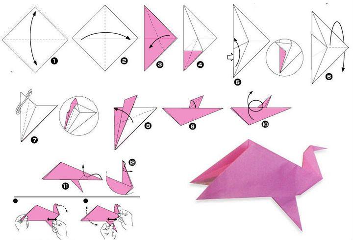 Көгершін-оригамиді кезең-кезеңімен жинау
