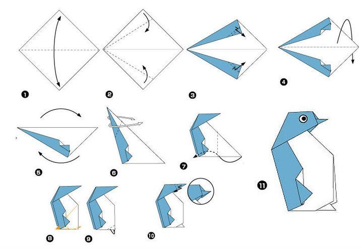 Пингвин-Оригами кезең-кезеңімен жинау