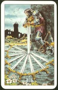 Таро Зеркало Судьбы изображение аркана 10 Мечей