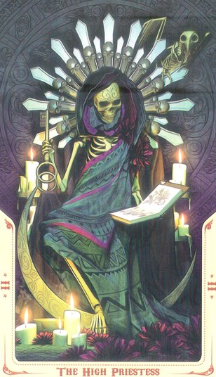 2 Жрица (The High Priestess) Таро святой смерти (Santa Muerte Tarot)