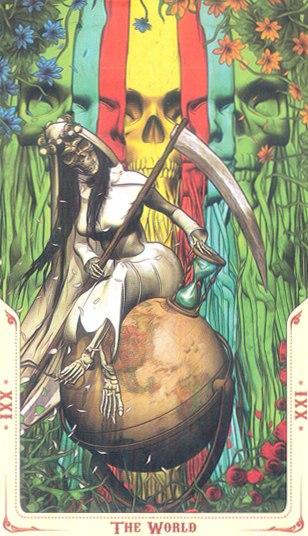 21 Мир (The World) Таро святой смерти (Santa Muerte Tarot)