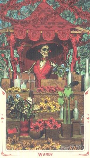 4 Жезлов Таро святой смерти (Santa Muerte Tarot)