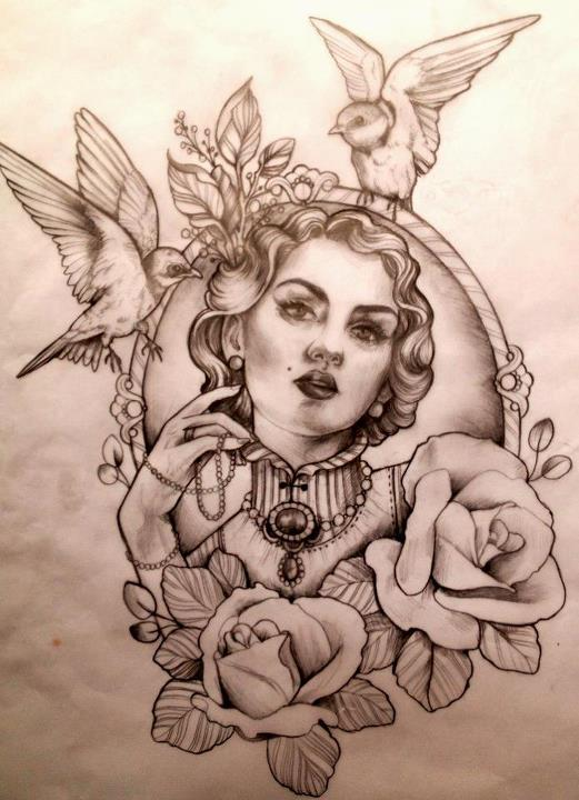 Female Portrait Tattoo Designs