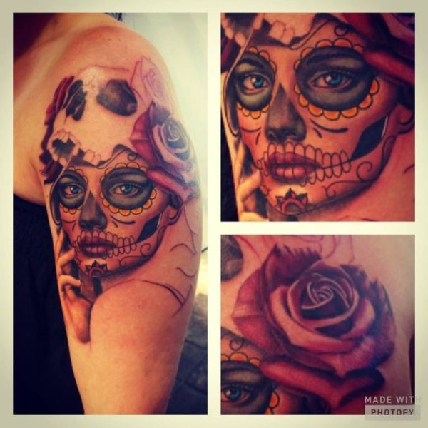 20 Sugar Skull Shoulder Tattoos For Men Ideas And Designs