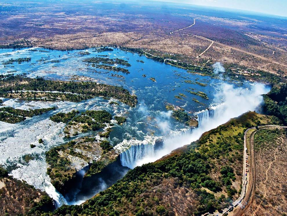 Aerial Photography Of Victoria Falls