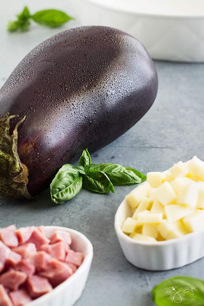 Ingredients for eggplant pasticcio