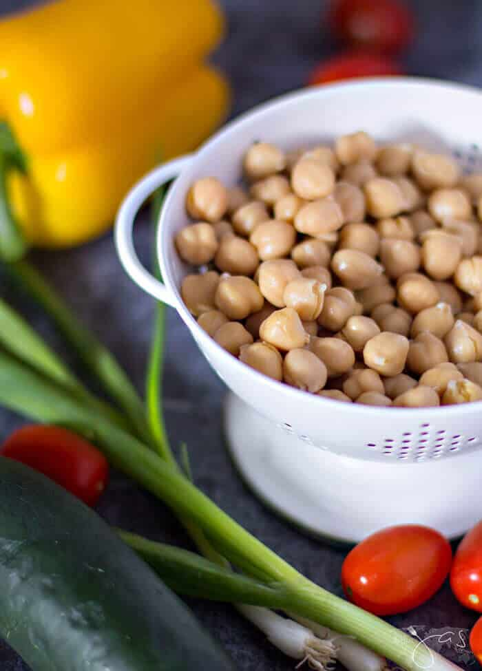 ingredients for chickpea salad