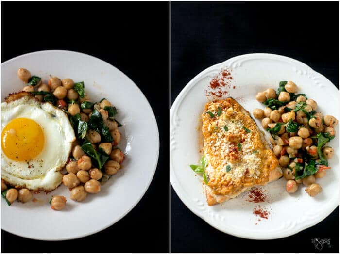 Chickpeas alongside salmon and with fried egg