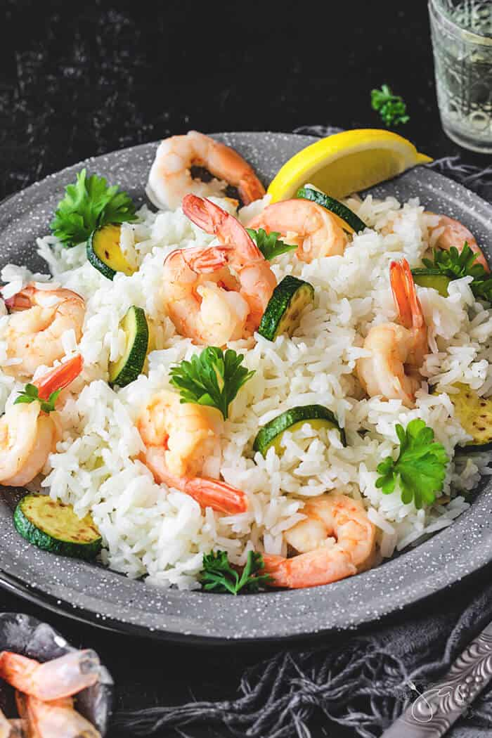 Italian risotto with shrimp and zucchini is super quick and easy to make.