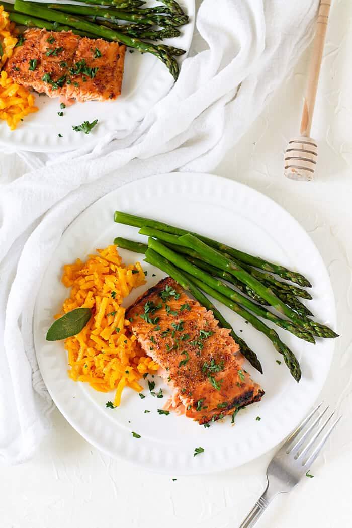 French salmon filet with honey mustard glaze