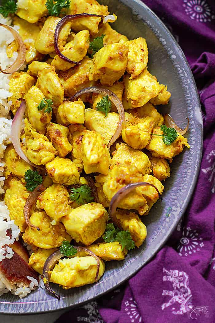 Spicy and delicious chicken dinner with ginger and garlic - Indian style