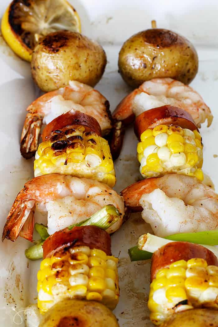 Shrimp, potatoes, andouille sausage, and corn kebabs.