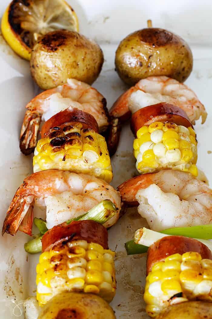 Shrimp, potatoes, andouille sausage, and corn kebabs.