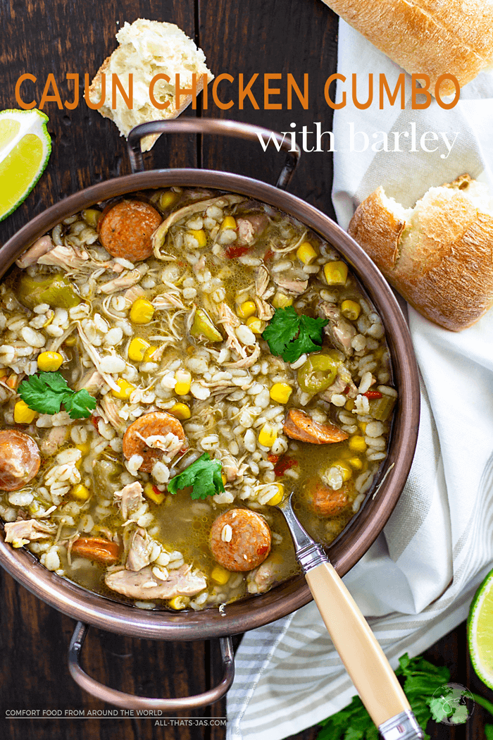 A Cajun dish that is hearty, satisfying, flavorful and perfect for a crowd, made with chicken, sausage, and barley. | allthatsjas.com | #stew #gumbo #cajun #soup #recipes #barley #chicken #okra #sausage #spicy #easy #NewOrleans #homemade #light #southern #allthatsjas