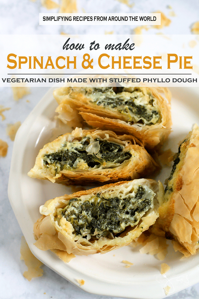 Delicious vegetarian pie made with flaky phyllo dough, spinach and cheese is a popular Mediterranean dish.