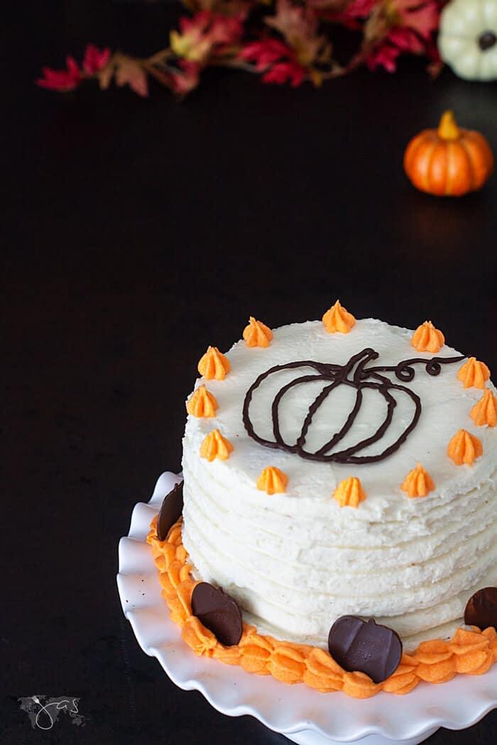Chocolate pumpkins garnish for the pumpkin orange chocolate cake