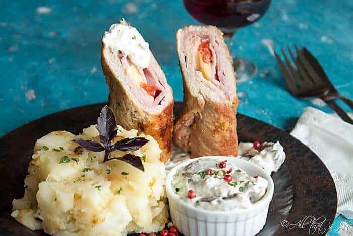veal rolls with smoked cheese