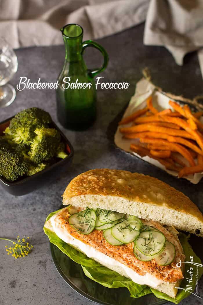 Blackened salmon focaccia - All that's Jas