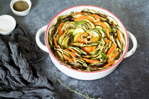 Tian Provençal vegetable bake - All that's Jas. This tasty French dish with baked fresh summer vegetable tastes even better made a day in advance.