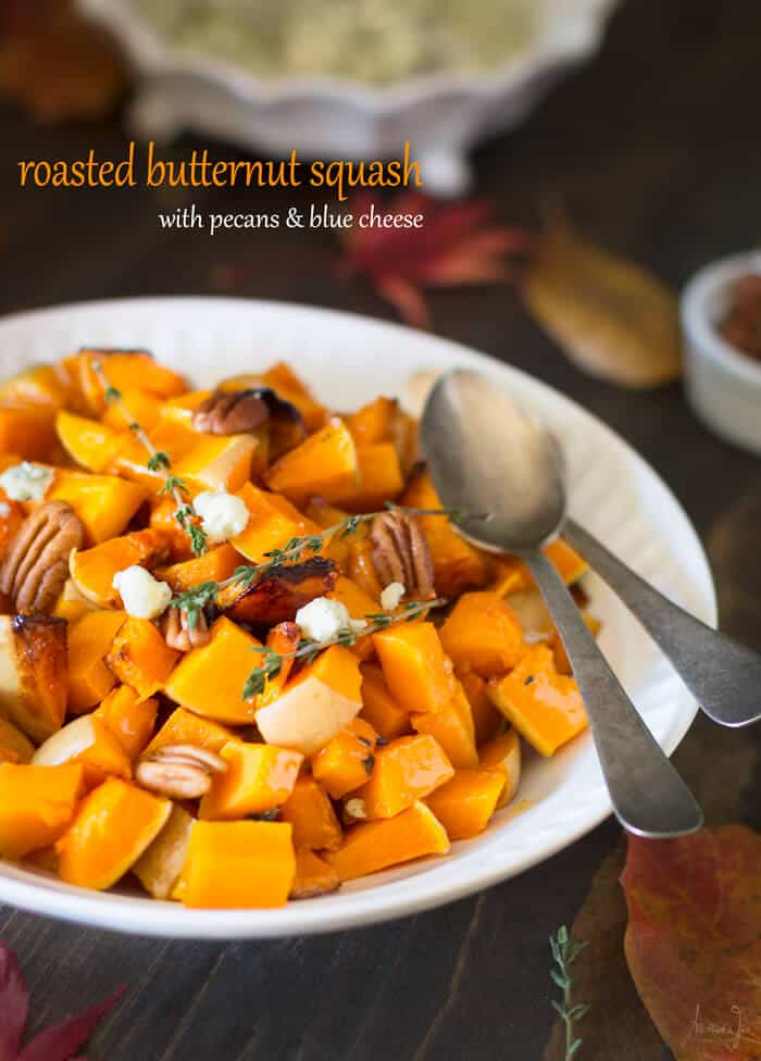 Roasted Butternut Squash with Pecans and Blue Cheese - All that's Jas
