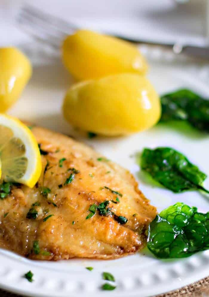 Lightly fried white fish topped with brown butter lemon parsley sauce your family will love.