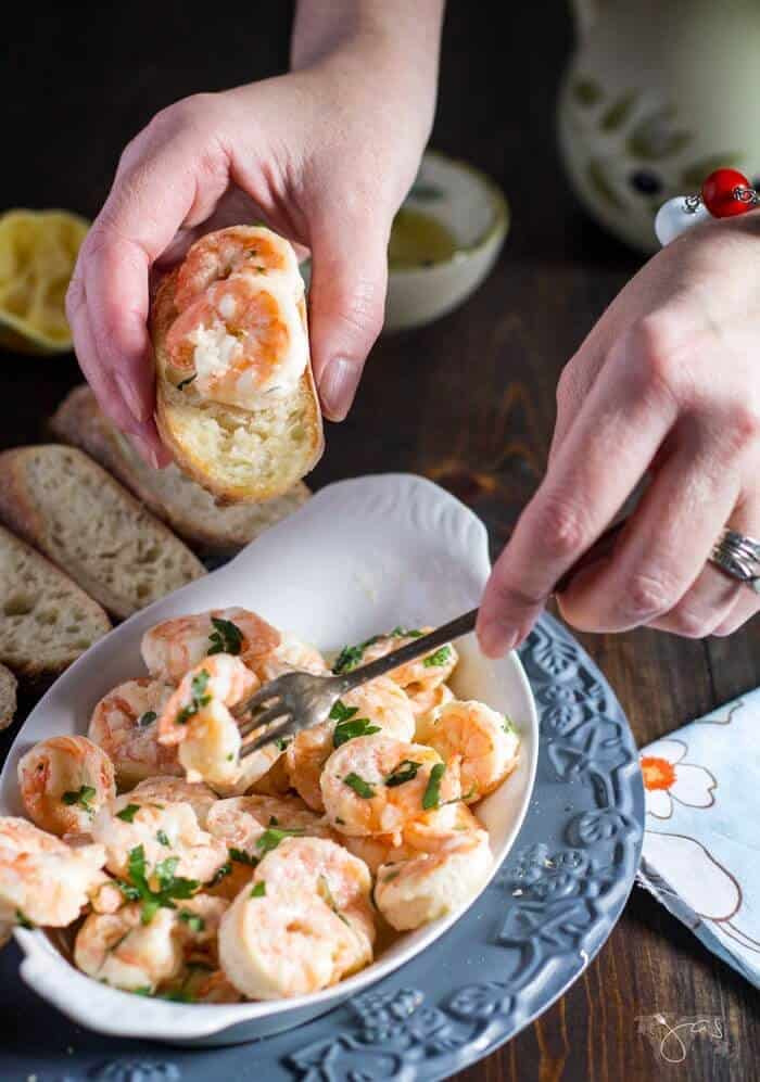 Spanish style shrimp in garlicy sauce is new family favorite