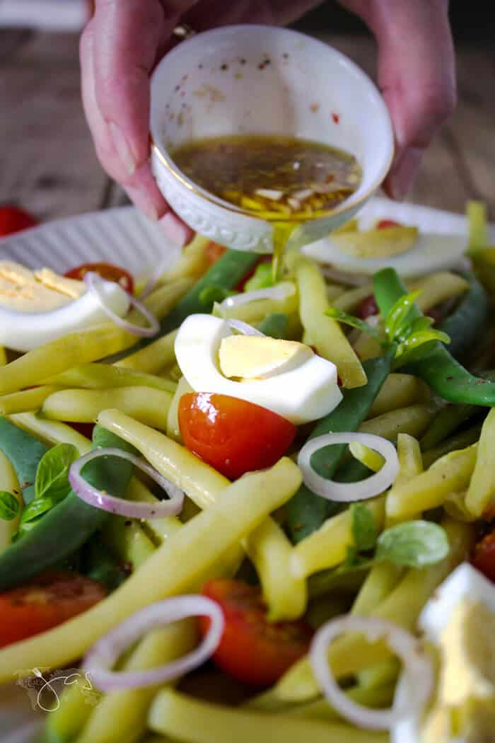 Garlic balsamic dressing is perfect for this German green bean salad