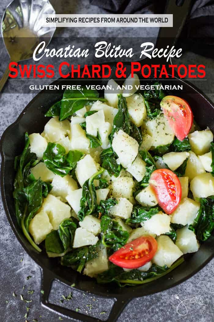 Croatian-style Swiss chard and potatoes recipe with garlic is simple, easy and quick to make.